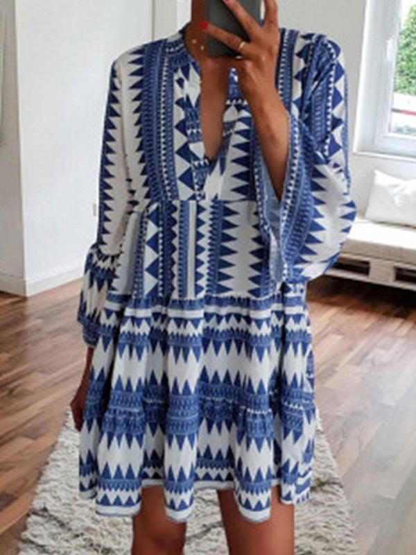 V Neck Women Dresses Going Out Casual Tribal Dresses
