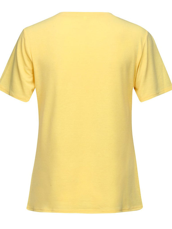 Yellow O-Neck Casual Cotton-Blend Shirts & Tops