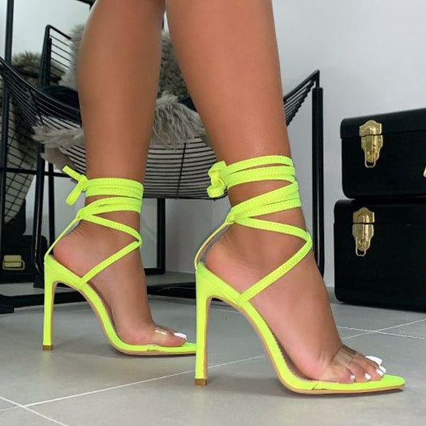 Pointed Toe High Heel Lace-Up Stiletto Heels Women