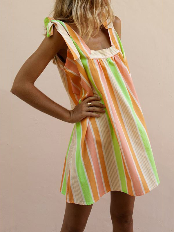 Stripes Patchwork Sleeveless Beach Women Summer Mini Dresses
