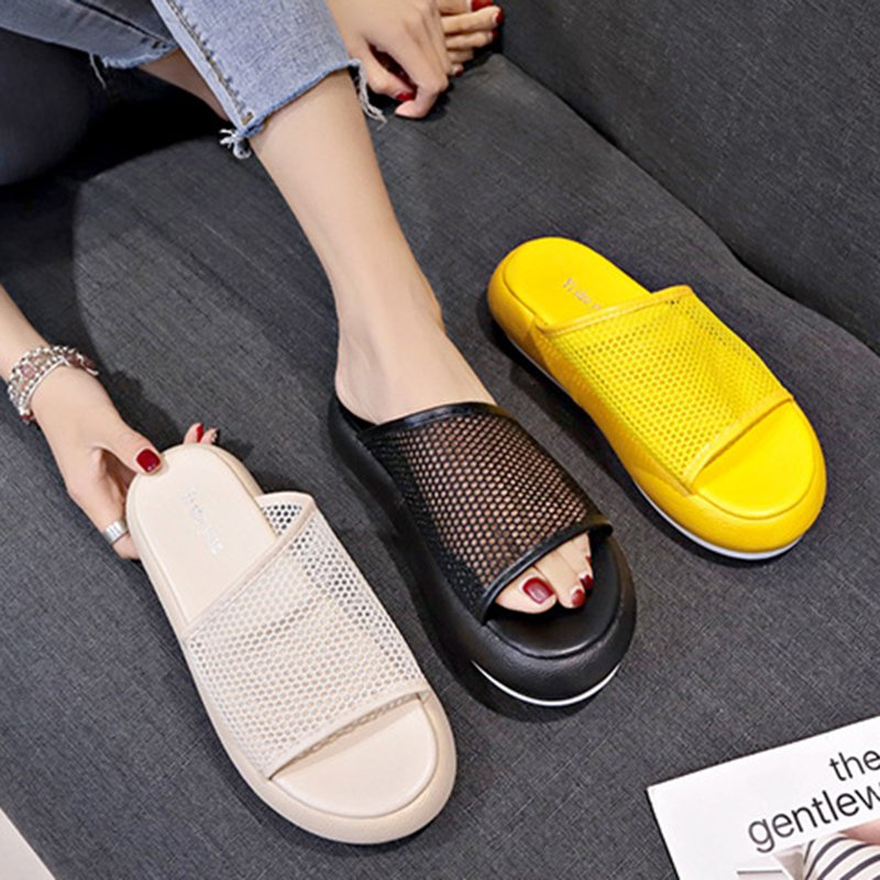 Women Casual Hollow-out PU Platform Slippers
