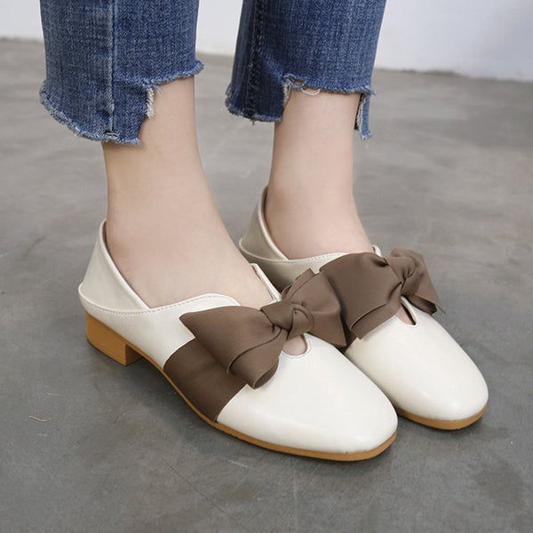 Women PU Flats Loafers Casual Comfort Bownot Slip On Shoes
