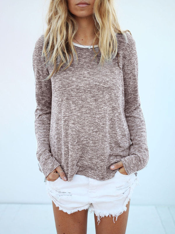 Gray Long Sleeve Binding T-Shirt