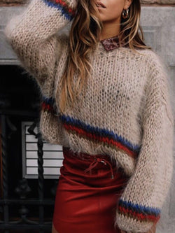 Cotton-Blend Crew Neck Long Sleeve Sweater