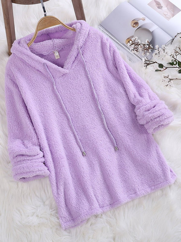 Mohair Hoodie Solid Color Autumn Winter Long Sleeve Sweatshirts