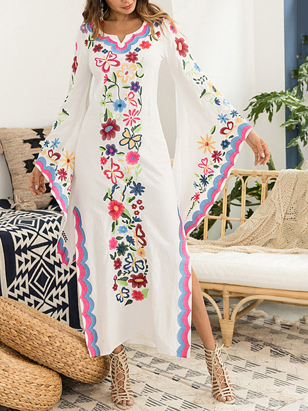 Embroidered Bell Sleeves V Neck Boho Dresses