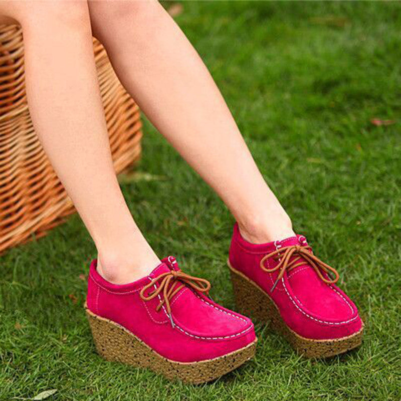 Casual Lace-up Platform Wedge Loafers