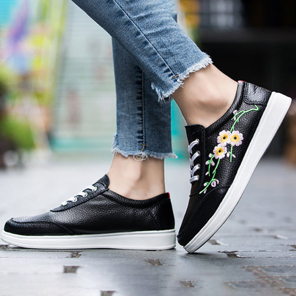 Women Athletic Sneakers Casual Lace up Floral Embroidered Shoes