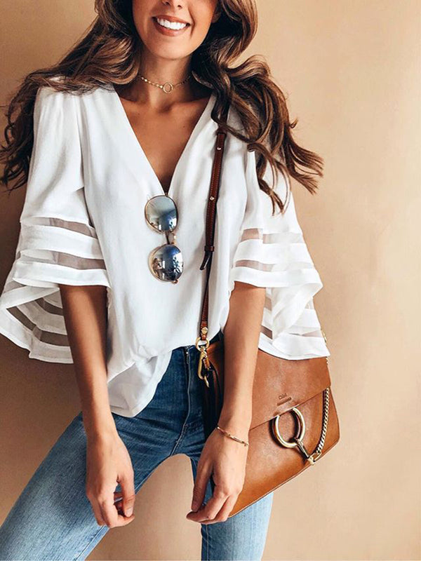 White Mesh Inserted Balloon Sleeve V Neck Blouse