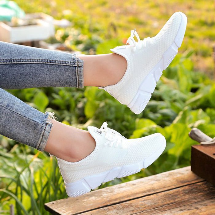 Women Mesh Fabric Sneakers Casual Comfort Lace Up Shoes