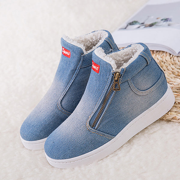 Deep Blue Denim Flat Heel Casual Spring/Fall Boots
