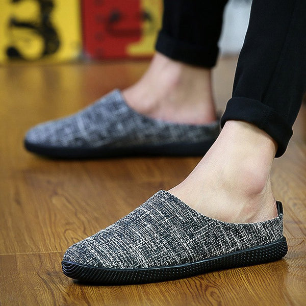 Men Linen Plus Size Driving Slippers