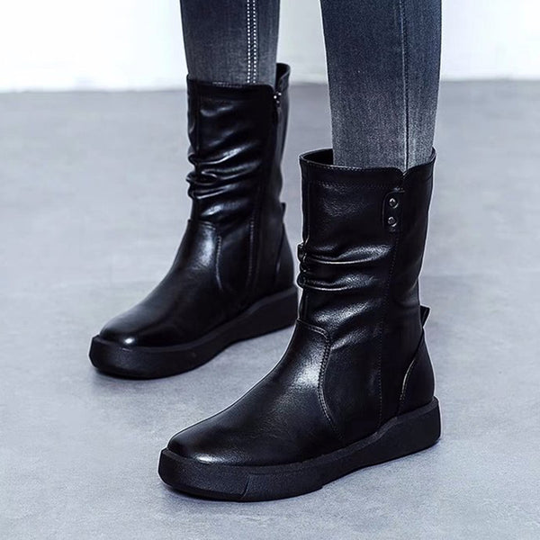 New Fashion Round Toe Low Heel Comfy Zipper Booties Warm Cotton Women's Shoes Snow Boots