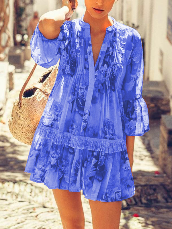 Geometric Printed Casual Loose Plus Size Chiffon Blouse Shirts dresses
