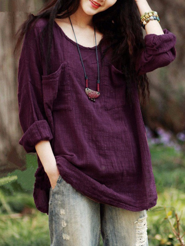 Purple Long Sleeve Pockets Crew Neck Solid T-Shirt