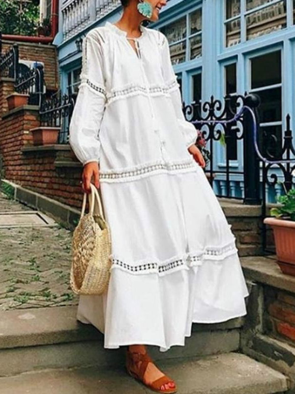 Plus Size V Neck Lantern Sleeve Hollow Out Maxi Dress