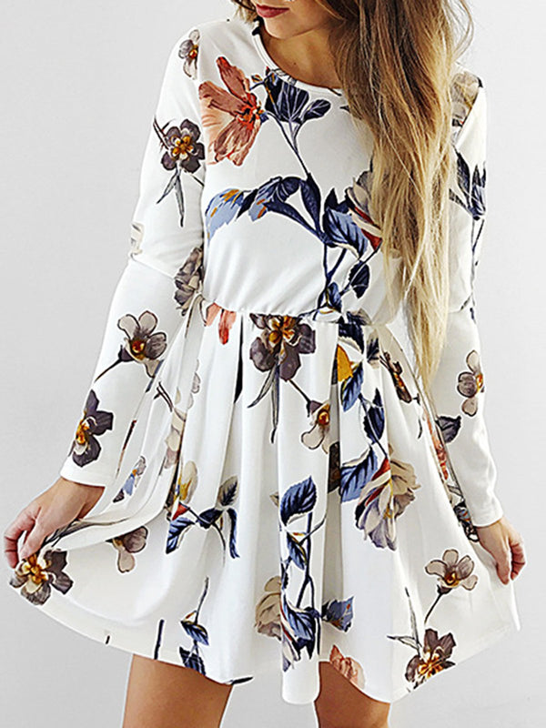 White Crew Neck Floral Long Sleeve Dress