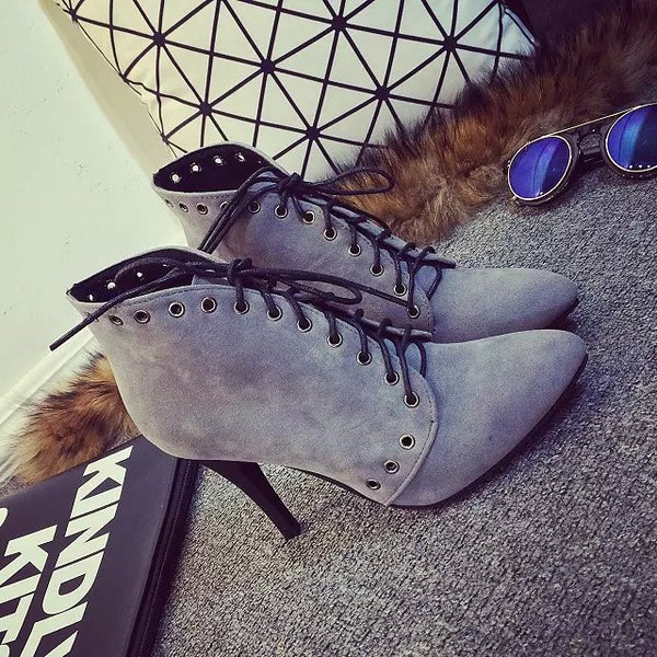Gray Lace-up Daily Spring/Fall Stiletto Heel Boots