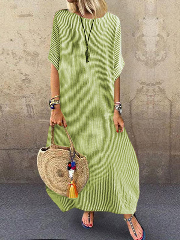 Stripes Round Neck Holiday Casual Half Sleeve Dresses