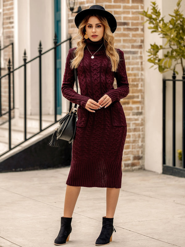 Women Turtleneck Pockets Long Sleeve Dresses