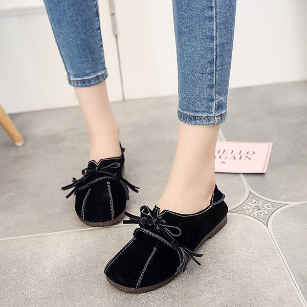 Suede Bowknot Flat Heel Loafers