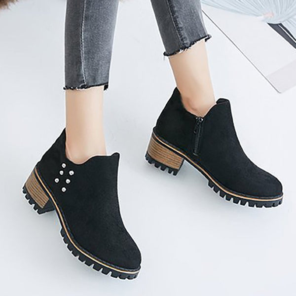 Women Flocking Booties Casual Comfort Zipper Shoes