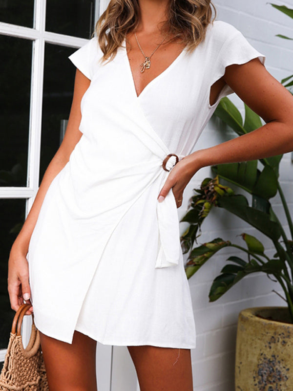 Asymmetric Solid Cotton-Blend Women Summer Mini Dresses
