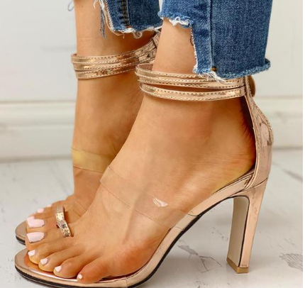 Toe Ring Transparent Strap Chunky Heeled Sandals
