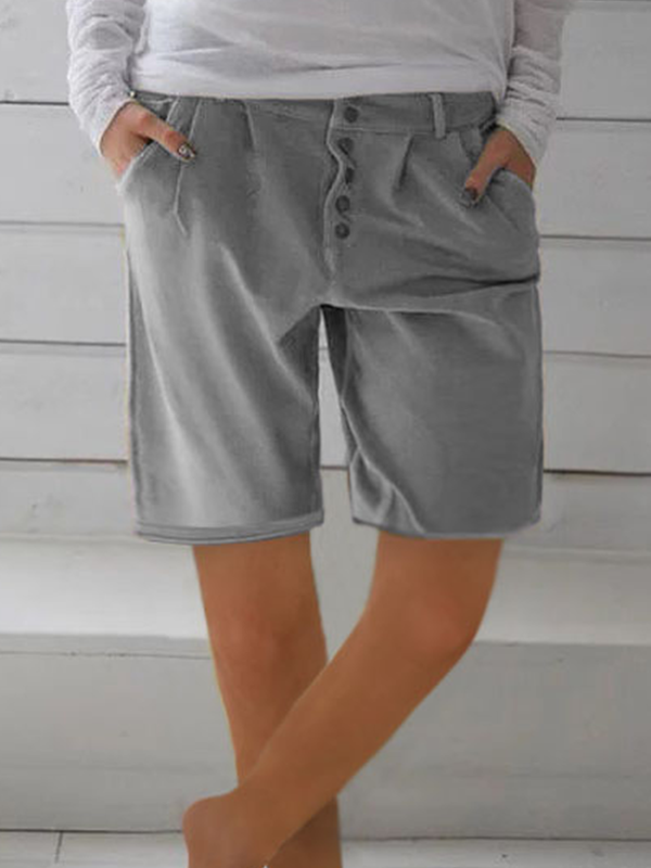 Summer Cotton Linen Casual Solid Shorts Pants