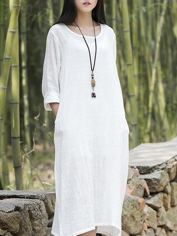 Linen Shift Casual Dress