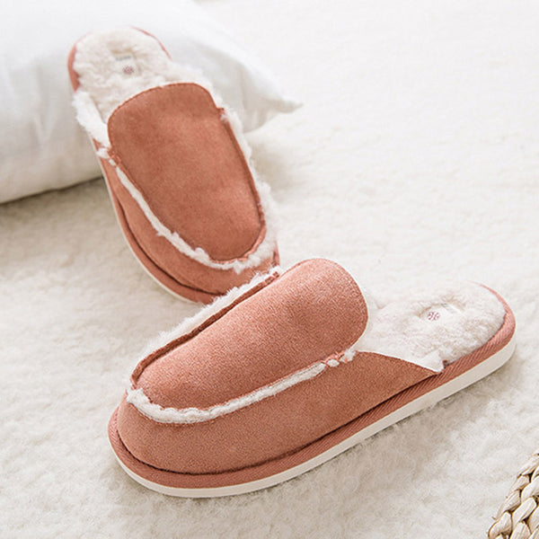Cute Soft Suede Home Slippers Autumn Winter Warm Indoor Flat Shoes