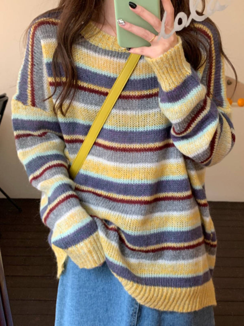 Long Sleeve Round Neck Casual Striped Sweater