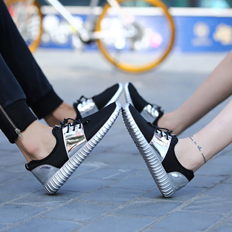 Women Plus Size Mesh Fabric Sneakers Couple Casual Comfort Shoes