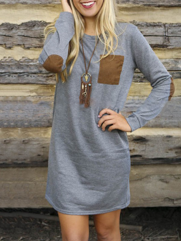 Casual Crew Neck Long Sleeve Plain Dress
