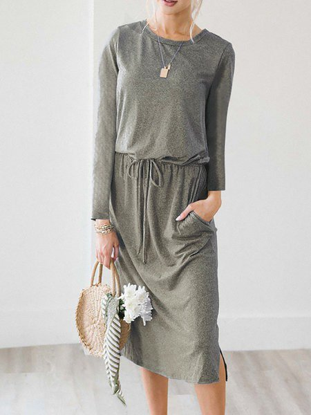 Shift Women Daily Elegant Long Sleeve Paneled Solid Elegant Dress