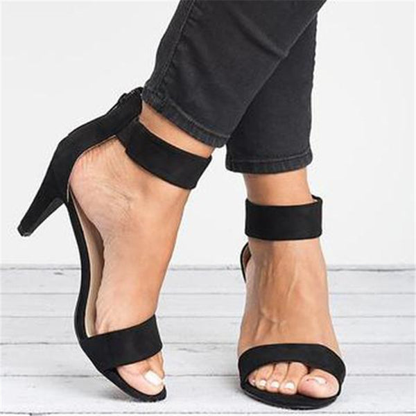 Women Plus Size Pumps Ankle Strap Heeled Sandals