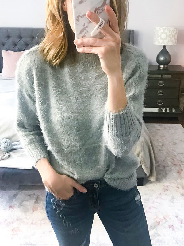 Casual Round Neck Cotton-Blend Sweater