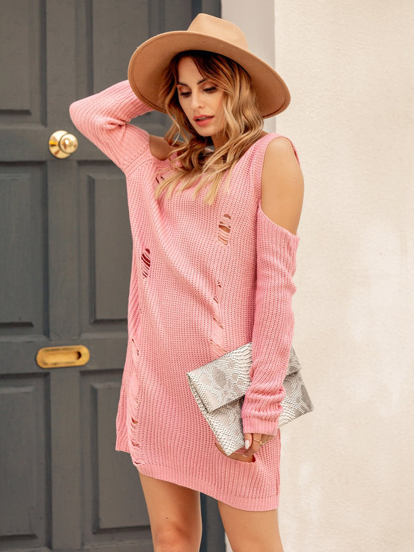 Women Long Sleeve V Neck Knitted Dresses