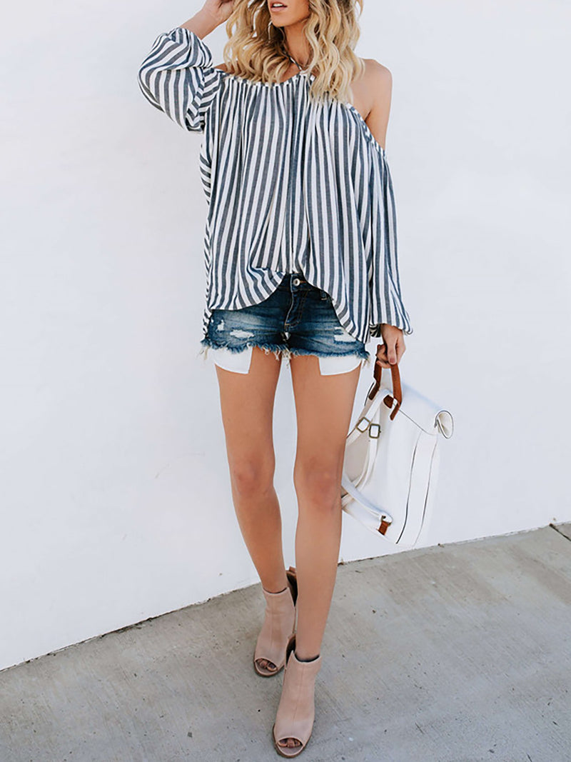 Gray Casual Cold Shoulder Blouses & Shirt