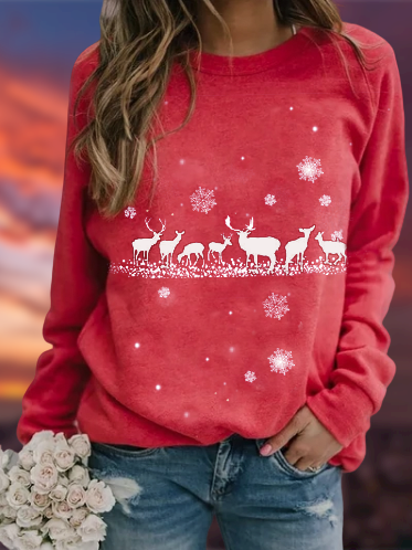 Pink Cotton-Blend Holiday Christmas Shirts & Tops