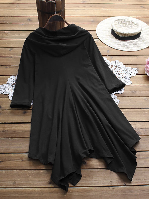 Solid color irregular hem hooded T-shirt Tops