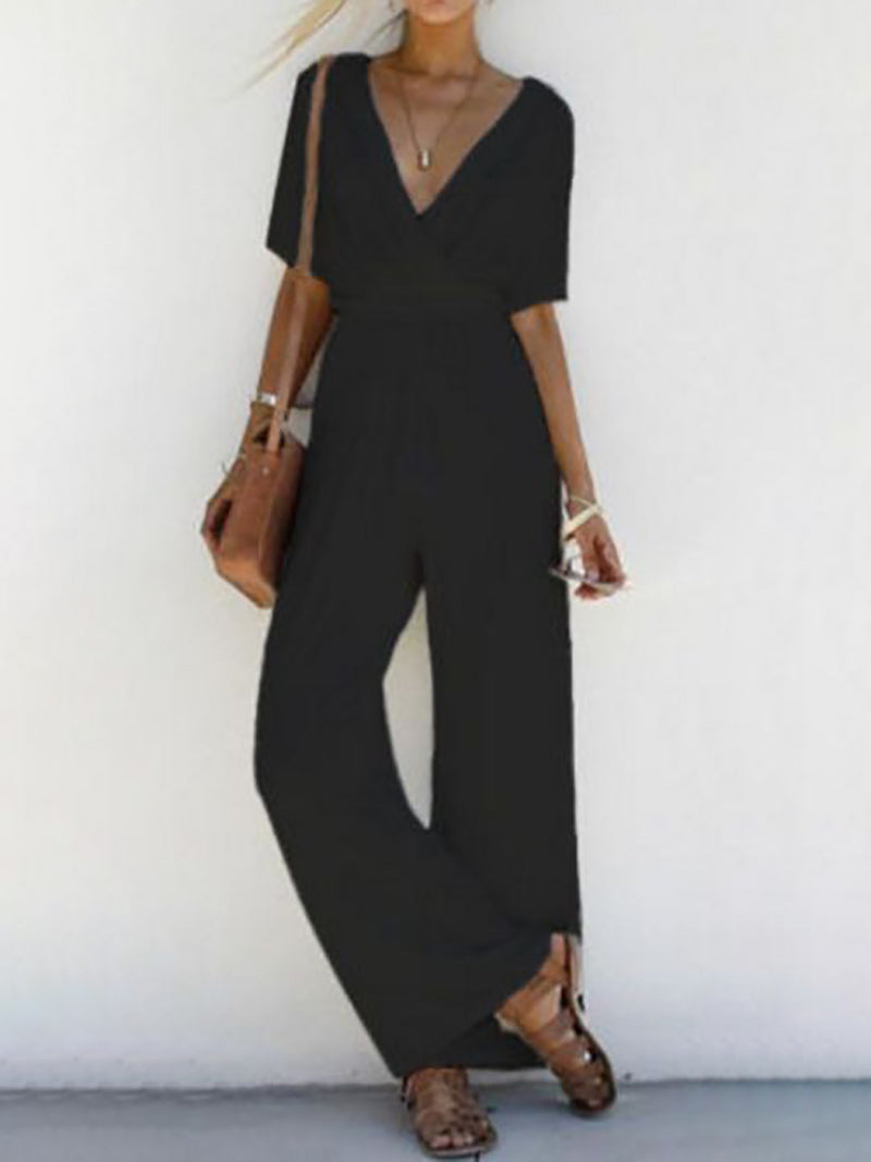 Wrap Front Short Sleeve Solid Drawstring Jumpsuits