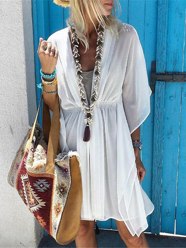 Asymmetric Beach Gathered Women Summer Mini Dresses