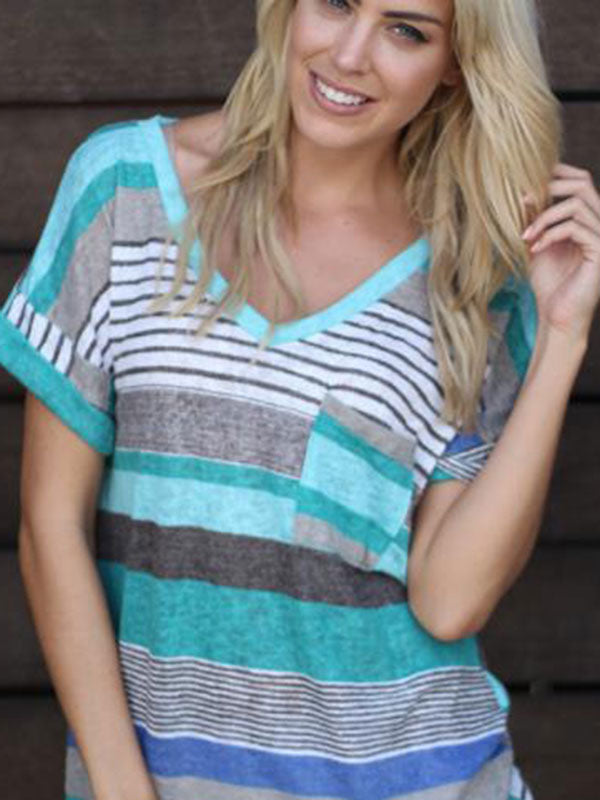 Printed striped short-sleeved T-shirt top