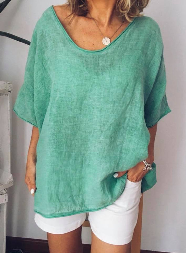 Plus Size Short Sleeve Casual V Neck Blouse