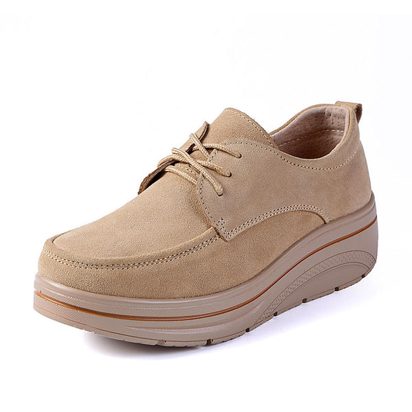 Women Nubuck Platform Loafers Casual Comfort Lace Up Shoes