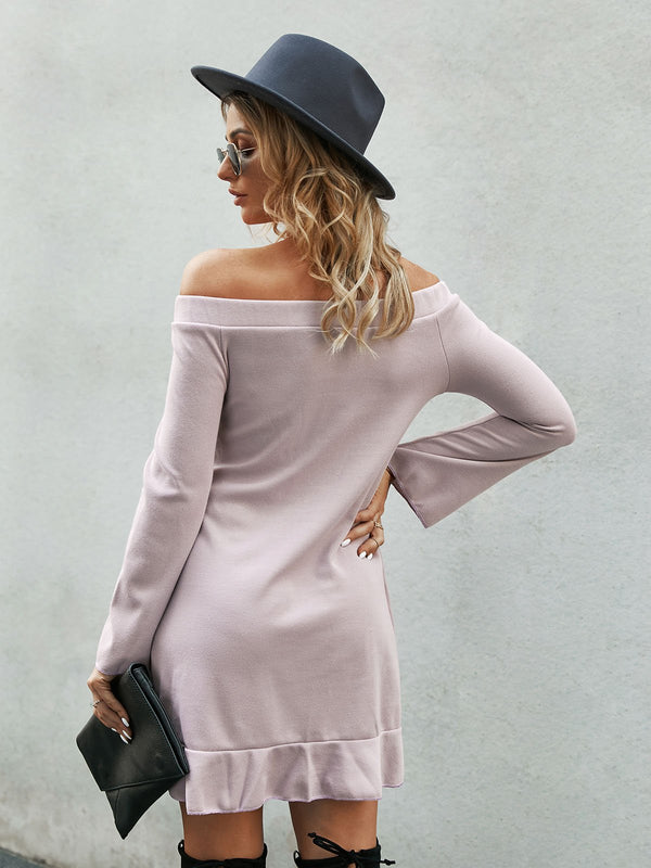 Pink Horizontal Neck Shift Bell Sleeve Dresses