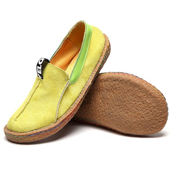 Suede Pure Color Slip On Stitching Flat Soft Shoes