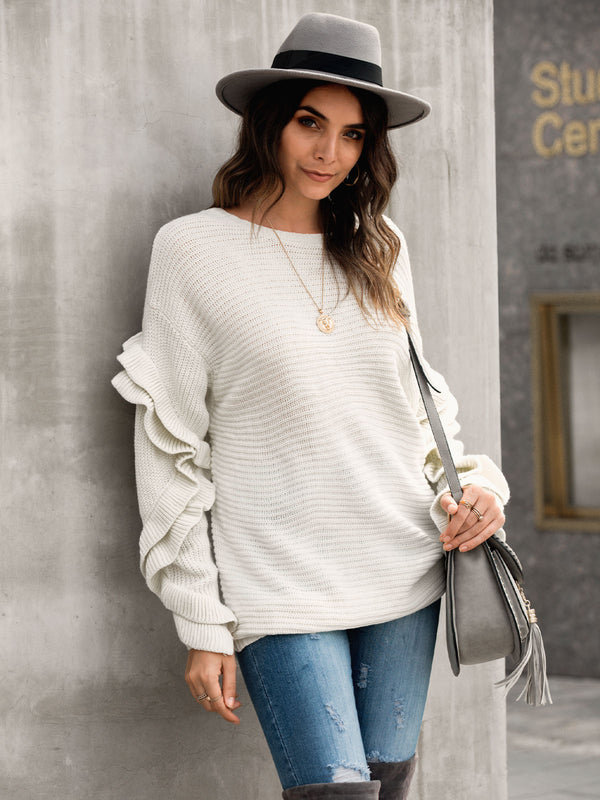 Ruffled Shift Long Sleeve Sweater