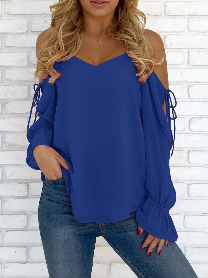 Blue Cold Shoulder Spaghetti Blouses & Shirt